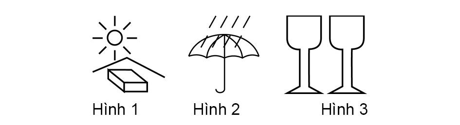 Những ký hiệu hàng hóa dưới đây, ký hiệu nào chống mưa?
